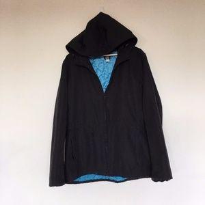 GAP Black Zip Coat/Jacket with Hood - M
